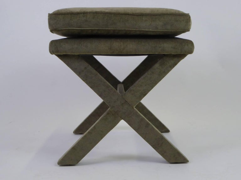 Mid-20th Century 1960s Velvet X-Bench Stool in the Style of Billy Baldwin For Sale