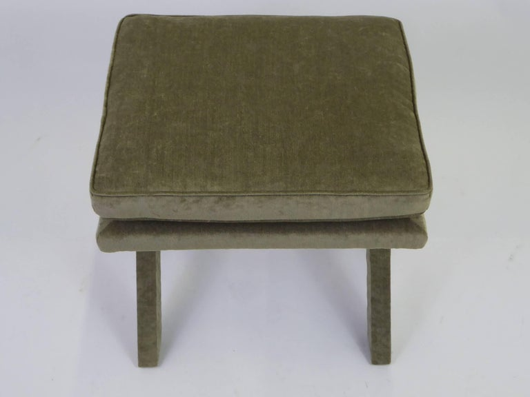 1960s Velvet X-Bench Stool in the Style of Billy Baldwin For Sale 2
