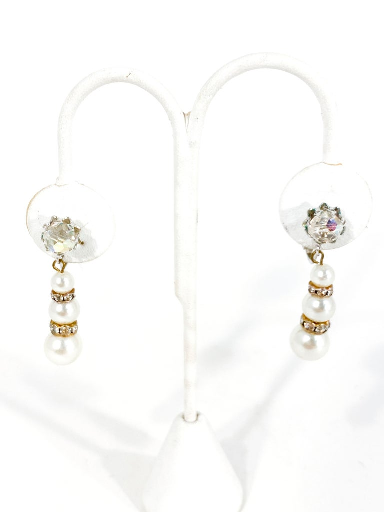 1960s Vendome Faux Pearl and Rhinestone Earrings In Good Condition For Sale In San Francisco, CA