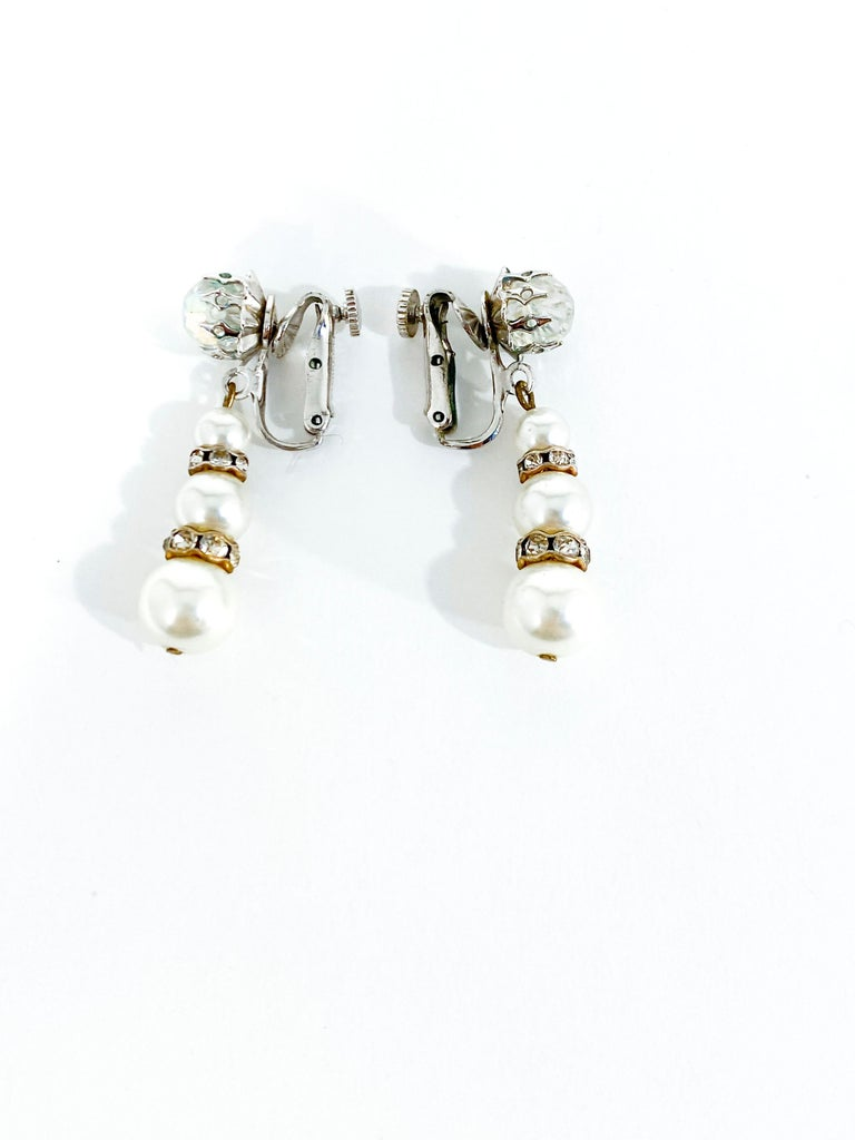 Women's or Men's 1960s Vendome Faux Pearl and Rhinestone Earrings For Sale