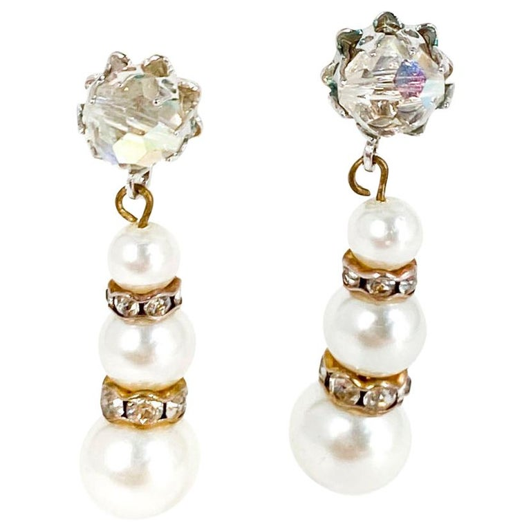 1960s Vendome Faux Pearl and Rhinestone Earrings For Sale