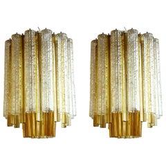 """1960s Venini """"Trilobi"""" Murano Glass Italian Design Pair of Ceiling Lamps"""