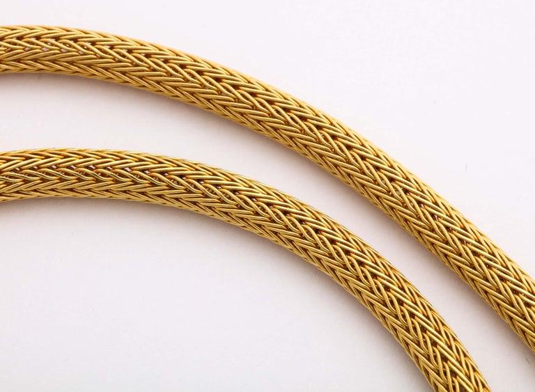 1960s Versatile Tubular Braided Tassel Gold Lariat Style Necklace For Sale 6