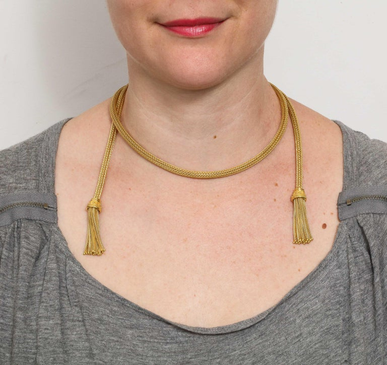 1960s Versatile Tubular Braided Tassel Gold Lariat Style Necklace For Sale 7