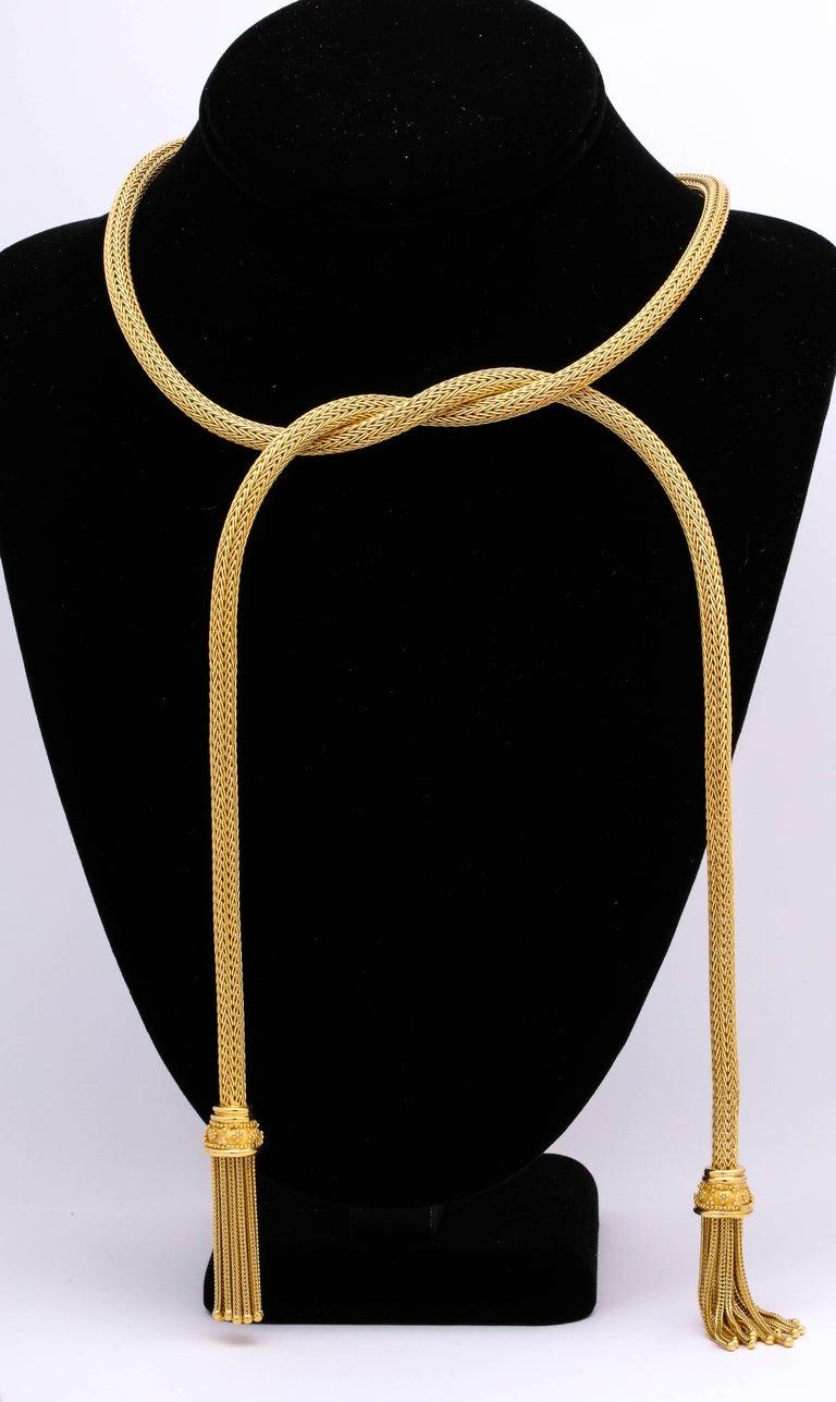 Women's 1960s Versatile Tubular Braided Tassel Gold Lariat Style Necklace For Sale