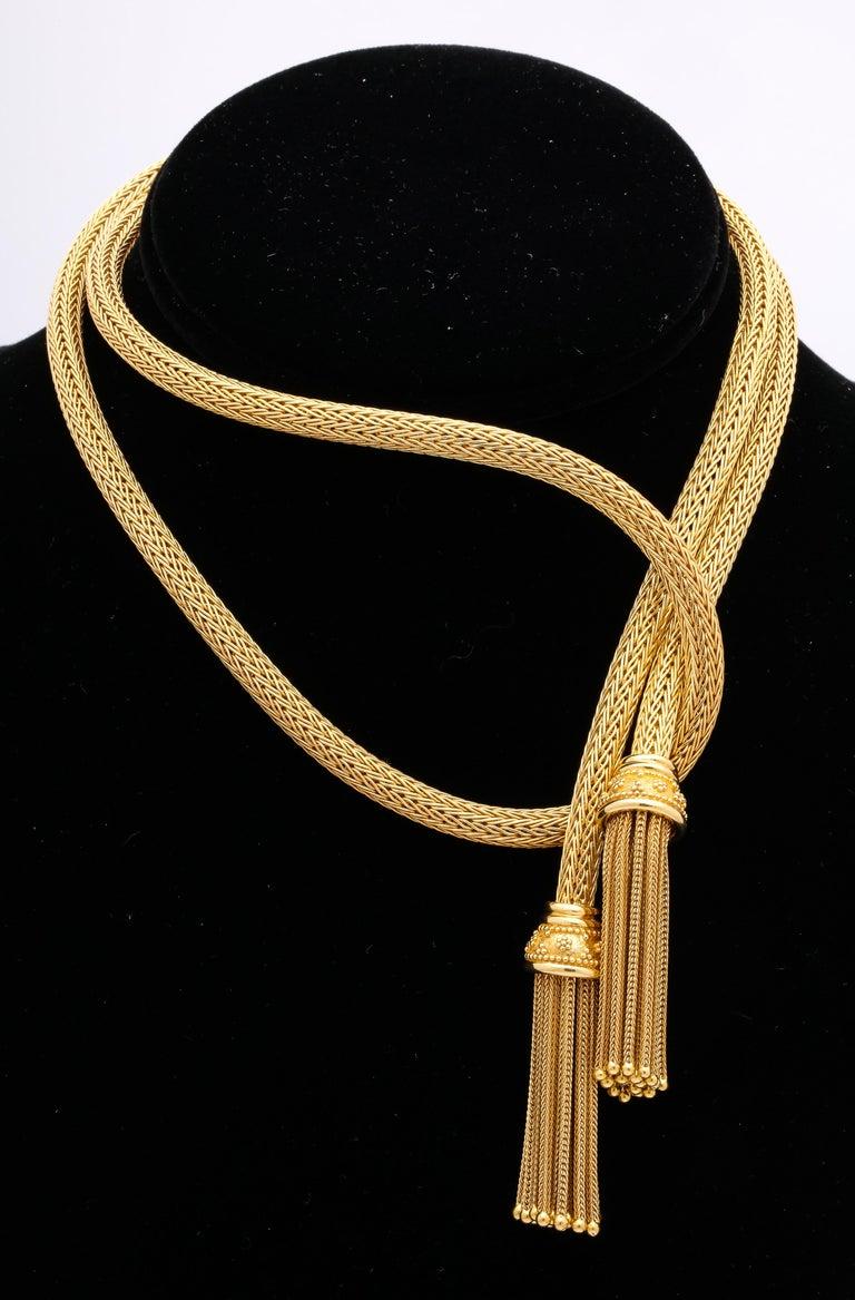 1960s Versatile Tubular Braided Tassel Gold Lariat Style Necklace For Sale 1
