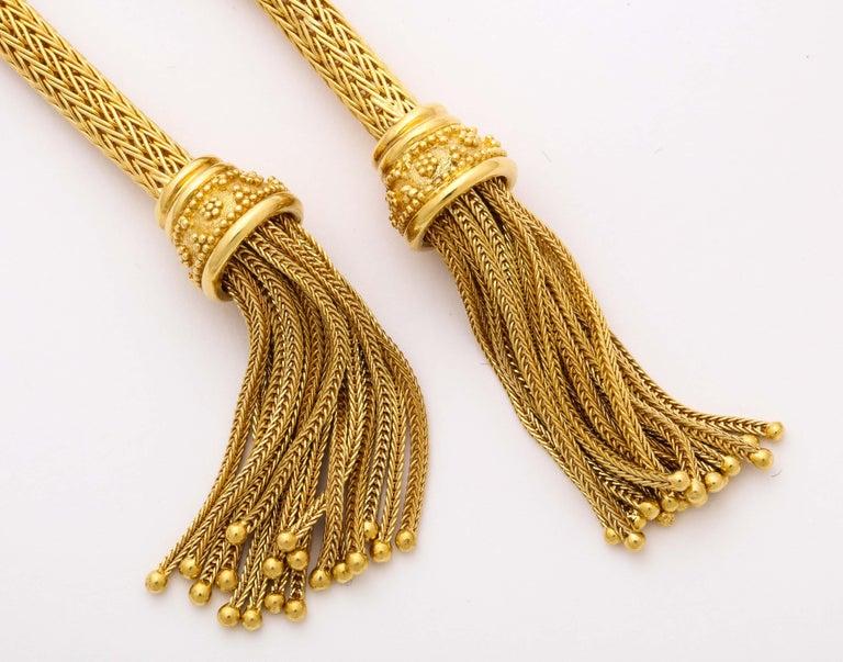 1960s Versatile Tubular Braided Tassel Gold Lariat Style Necklace For Sale 4