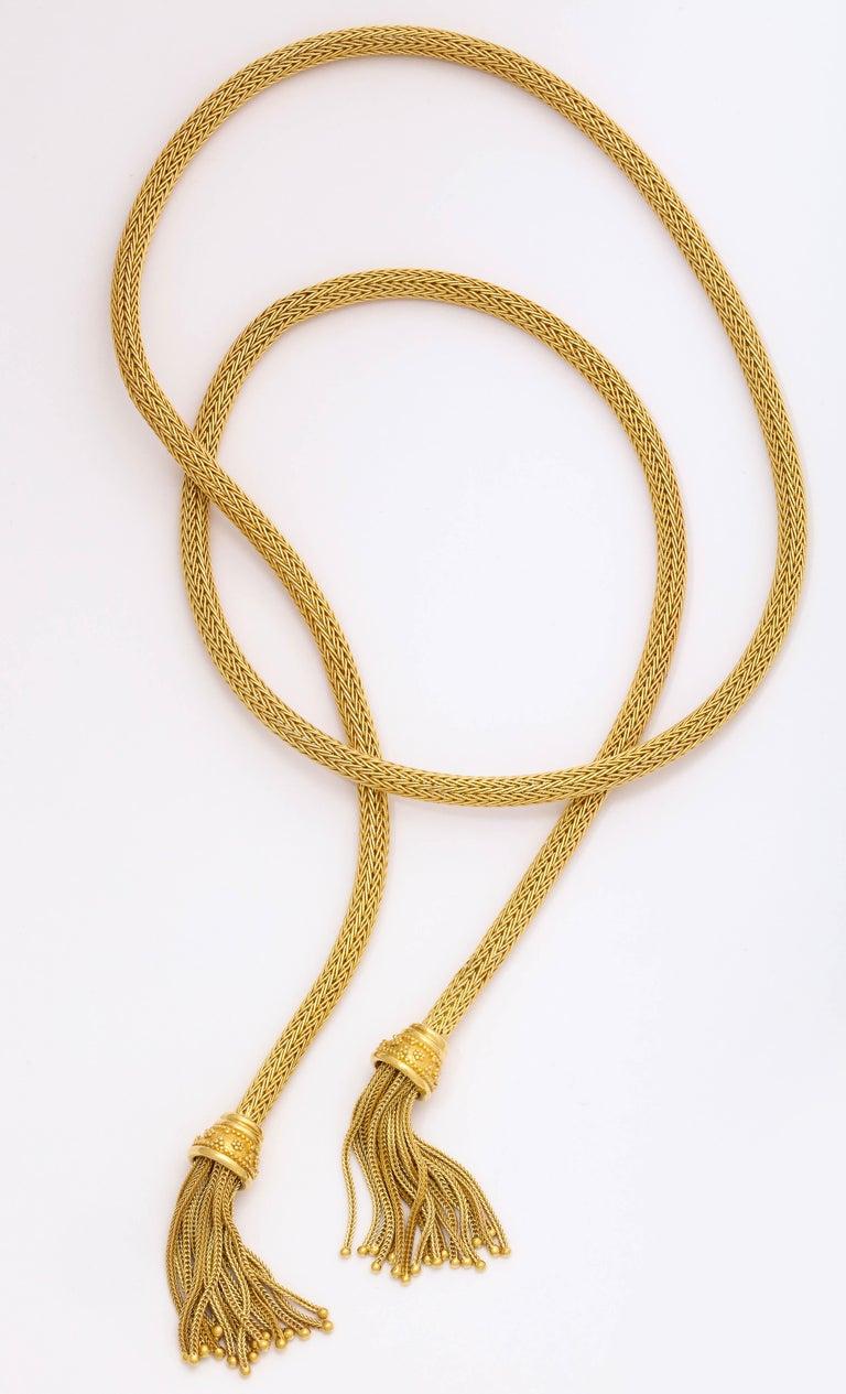 1960s Versatile Tubular Braided Tassel Gold Lariat Style Necklace For Sale 5