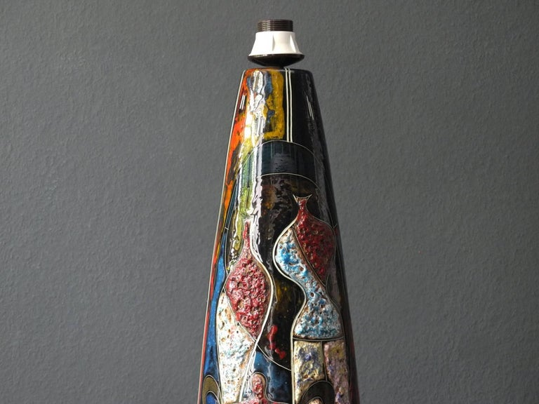 Handmade 1960s very nice huge colorful ceramic table or floor lamp.