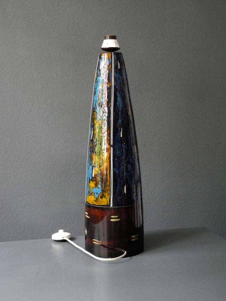 French 1960s Very Huge Handmade Colorful Ceramic Table or Floor Lamp by Melior For Sale