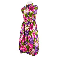 1960s Vibrant Floral Printed Dress