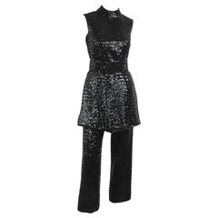 1960s Victor Costa Pantsuit Sequins Tunic Mini Dress  Small Mod