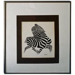1960s Mid-Century Victor Vasarely Zebra Stripes Black White Op Art Lithograph