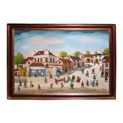 """1960s """"Village Street at Pont-sur-Yonne"""" Signed Jean Fous"""