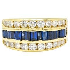 1960's Vintage 1.95 Carats Sapphire Diamond 18 Karat Gold Band Ring
