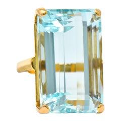 1960's Vintage 31.18 Carat Aquamarine 14 Karat Gold Statement Ring