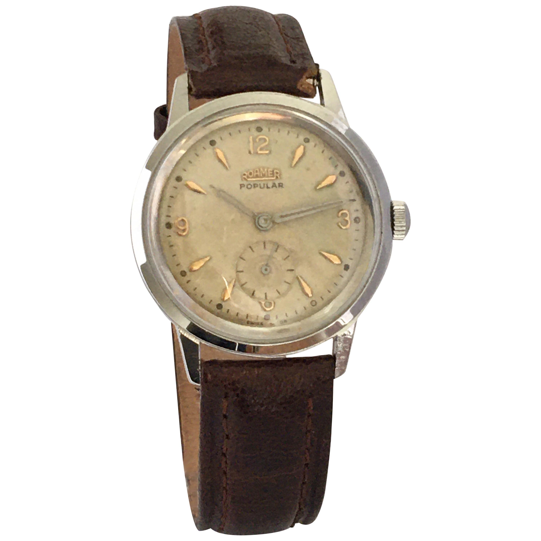 1960s Vintage Stainless Steel Back Roamer Mechanical Watch