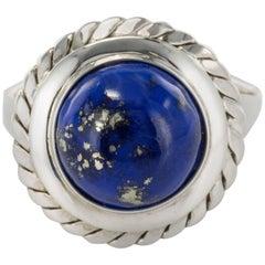 1960s Vintage 4,76 Carat Lapis Lazuli White Gold ring