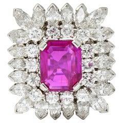 1960s Vintage 6.04 Carat No Heat Burma Ruby Diamond Platinum Cluster Ring