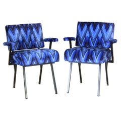 1960s Vintage Armchairs, Set of Two, Black and Blue Cover with Black Iron Frame