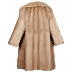 1960s Vintage Autumn Haze or Beige Mink Fur Coat with Pop Up Collar