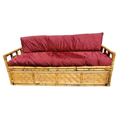 1960s Vintage Bamboo Sofa With Gated Underneath Storage Area