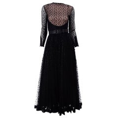 1960s Vintage Bill Blass Illusion Bodice Black Polka Dot Net Evening Dress