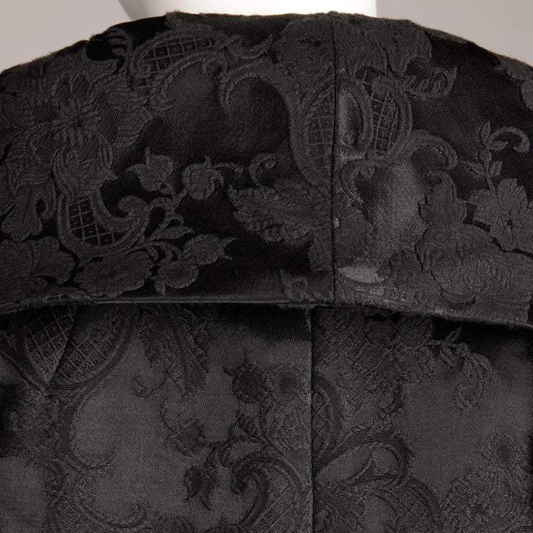 Women's 1960s Vintage Black Damask Evening Opera/ Dress Coat or Duster with 3/4 Sleeves For Sale