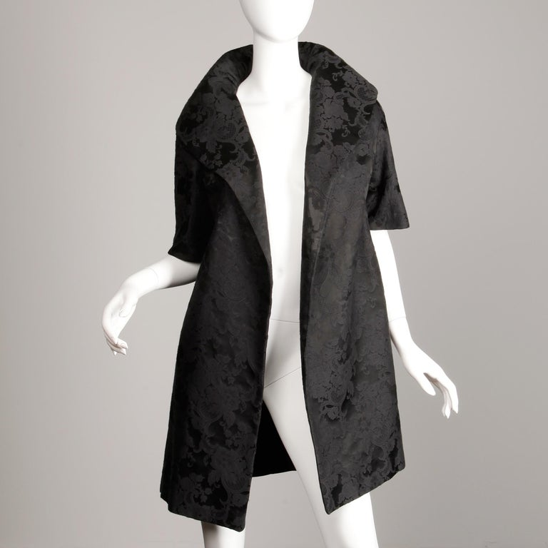 1960s Vintage Black Damask Evening Opera/ Dress Coat or Duster with 3/4 Sleeves For Sale 1