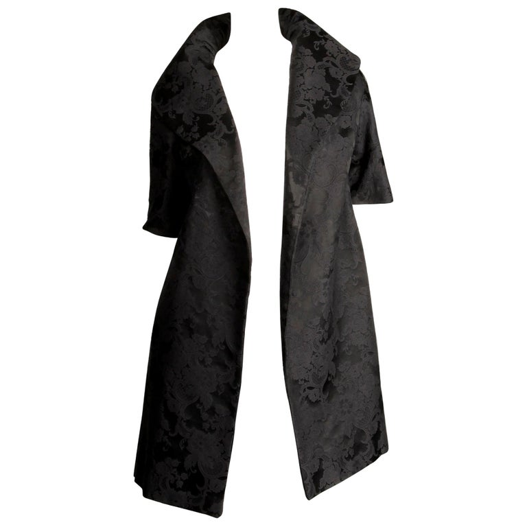 1960s Vintage Black Damask Evening Opera/ Dress Coat or Duster with 3/4 Sleeves For Sale