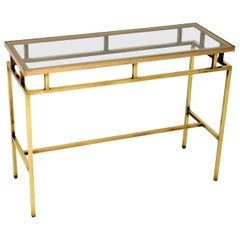 1960's Vintage Brass and Glass Console Table