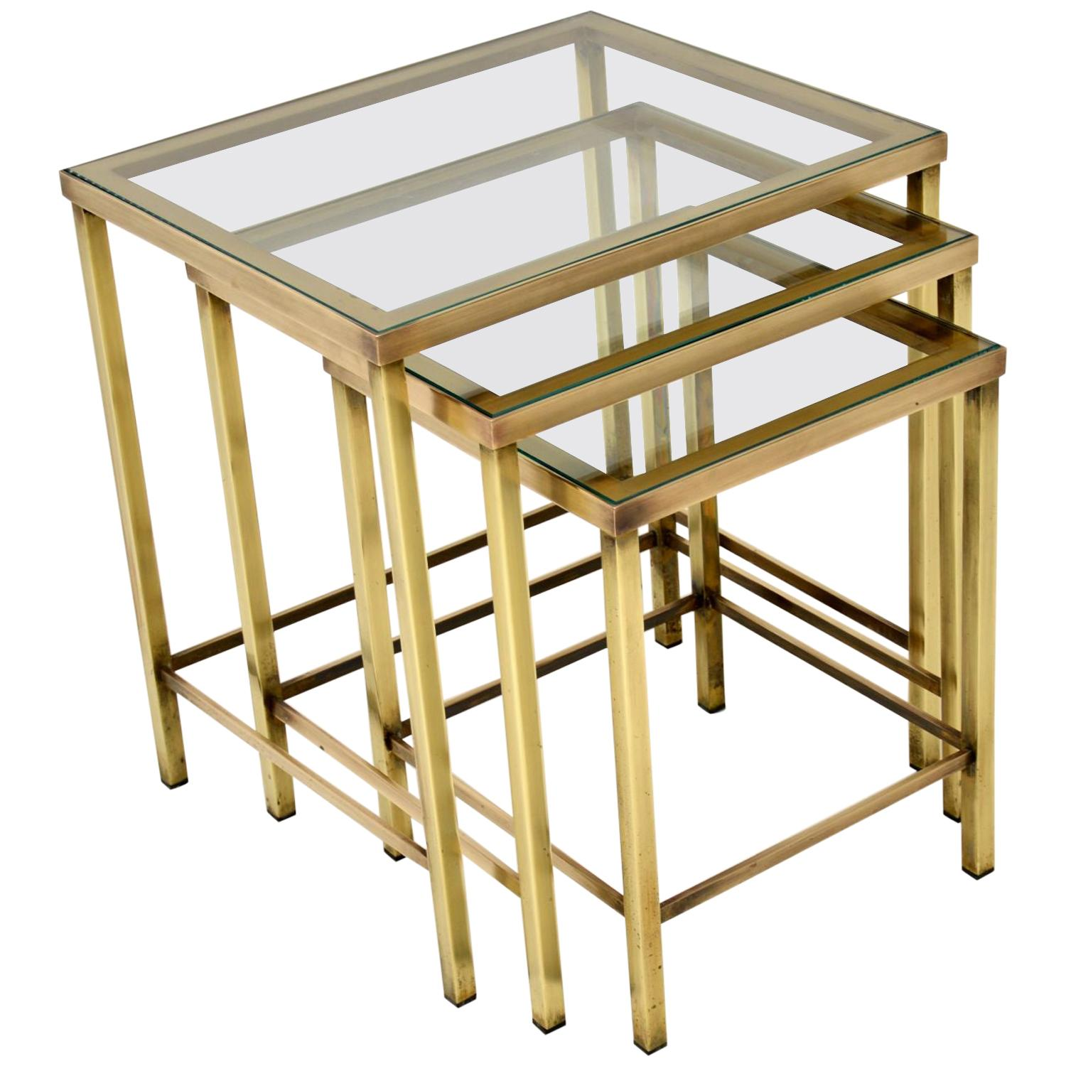 1960's Vintage Brass & Glass Nest of Tables