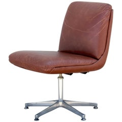 1960s Vintage Brown Leather Office Chair