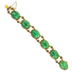 1960s Vintage Cabochon Jade Gold Bracelet
