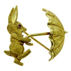 1960s Vintage Cartier Gold and Ruby Pin / Brooch Happy Bunny Rabbit Umbrella