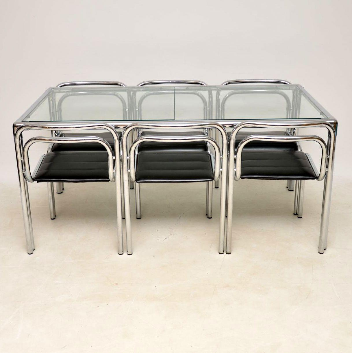 An incredibly stylish and very rare vintage dining table and six chairs designed by Rodney Kinsman & 1960s Vintage Chrome Dining Table and Chairs by Rodney Kinsman for ...