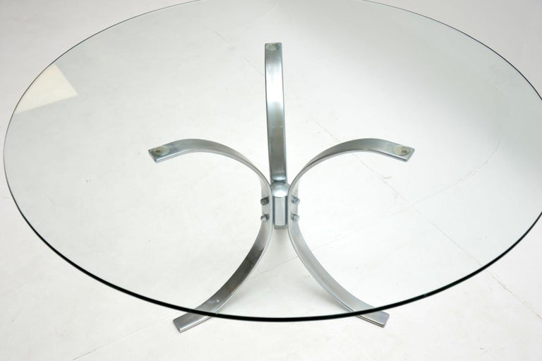 1960s Vintage Chrome and Glass Coffee Table In Good Condition For Sale In London, GB