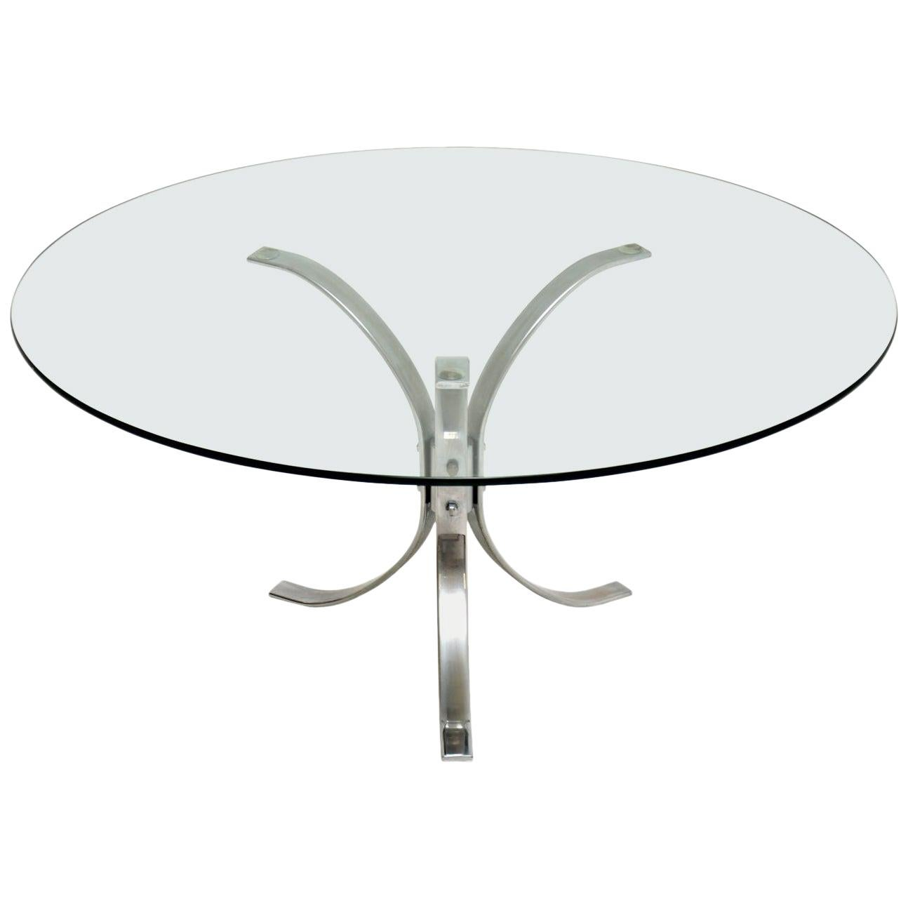 1960s Vintage Chrome and Glass Coffee Table