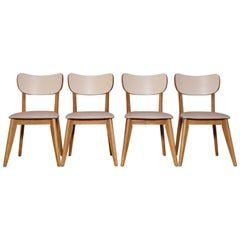 1960s Vintage Contemporary Birch and Vinyl Dining Chairs, Set of 4