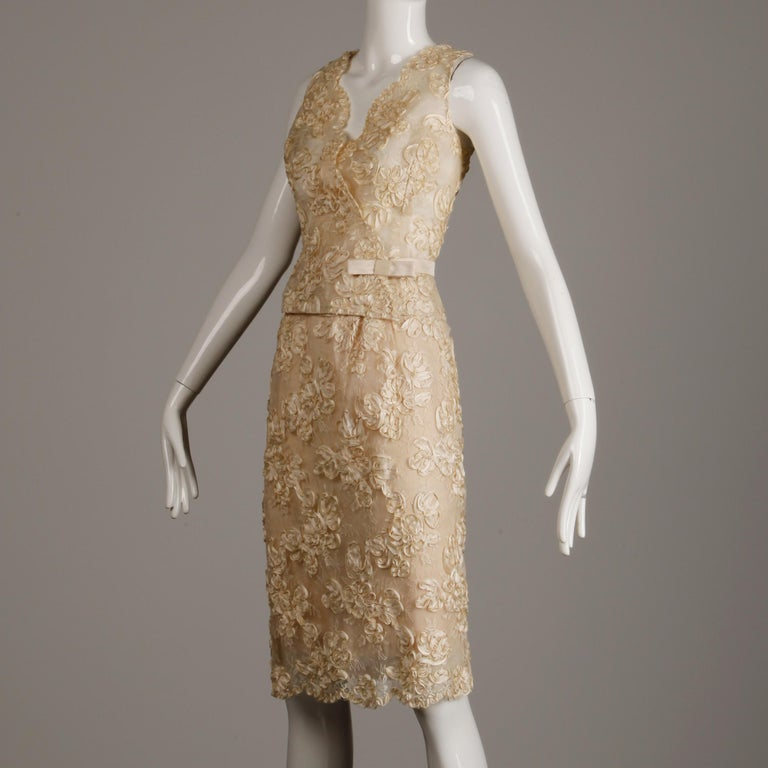 1960s Vintage Cream/ Off White Silk Soutache Lace Top/ Skirt Ensemble or Dress In Excellent Condition For Sale In Sparks, NV