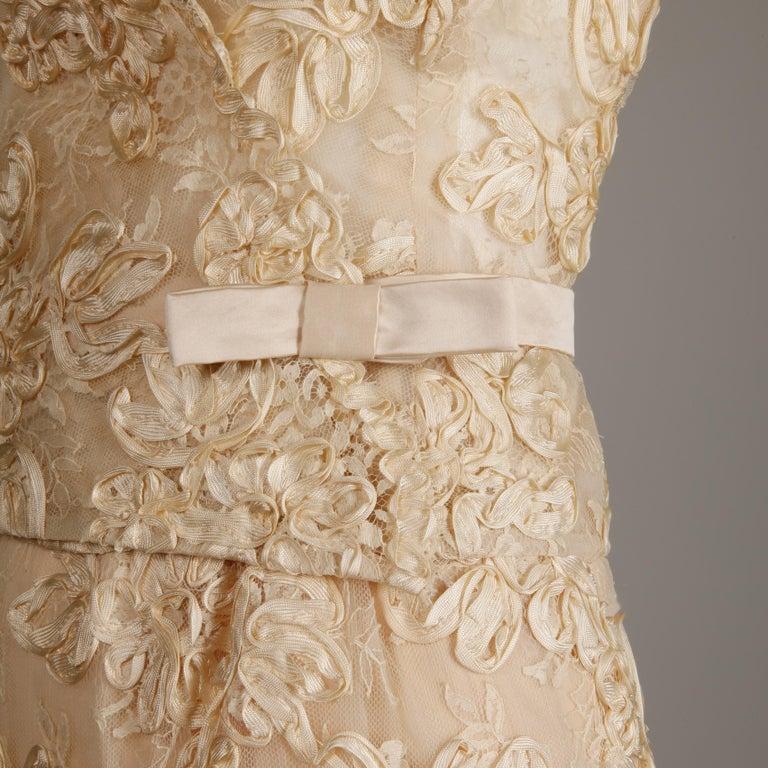 Women's 1960s Vintage Cream/ Off White Silk Soutache Lace Top/ Skirt Ensemble or Dress For Sale