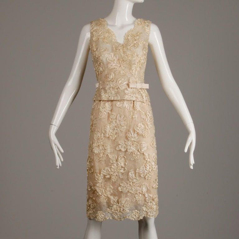 1960s Vintage Cream/ Off White Silk Soutache Lace Top/ Skirt Ensemble or Dress For Sale 1