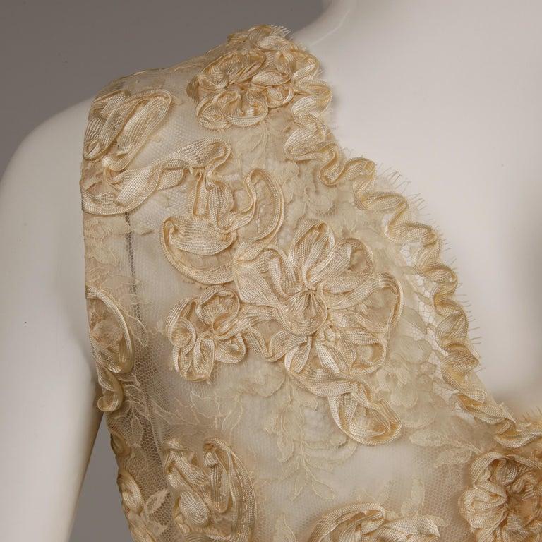 1960s Vintage Cream/ Off White Silk Soutache Lace Top/ Skirt Ensemble or Dress For Sale 2