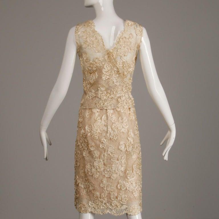 1960s Vintage Cream/ Off White Silk Soutache Lace Top/ Skirt Ensemble or Dress For Sale 3