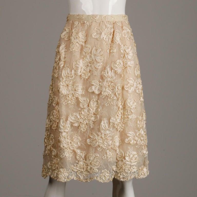 1960s Vintage Cream/ Off White Silk Soutache Lace Top/ Skirt Ensemble or Dress For Sale 4