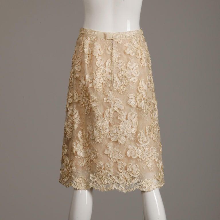 1960s Vintage Cream/ Off White Silk Soutache Lace Top/ Skirt Ensemble or Dress For Sale 5