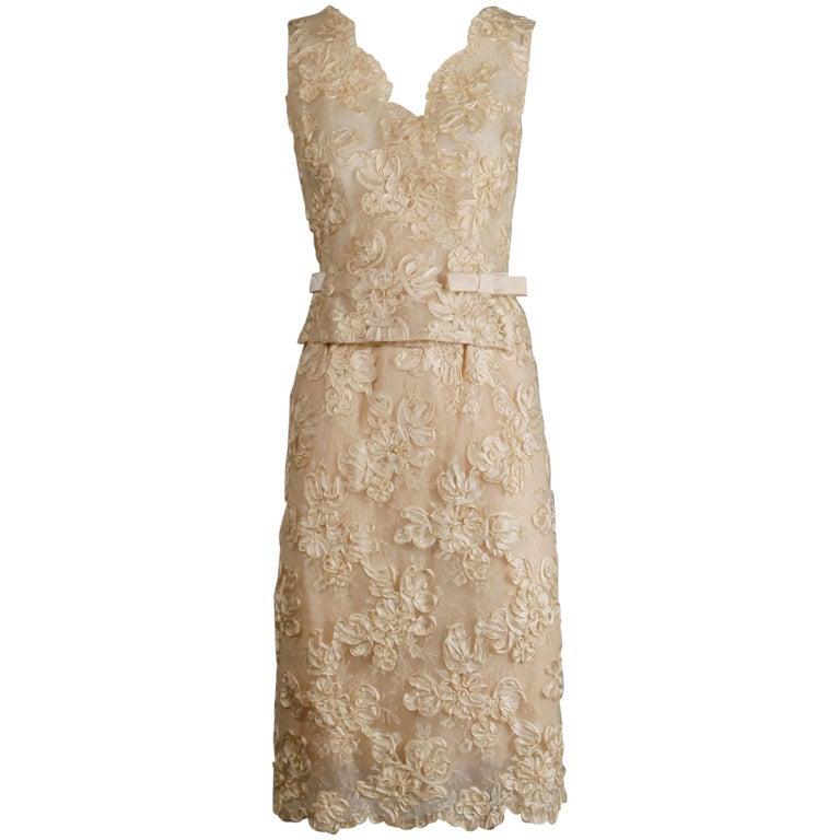 1960s Vintage Cream/ Off White Silk Soutache Lace Top/ Skirt Ensemble or Dress For Sale