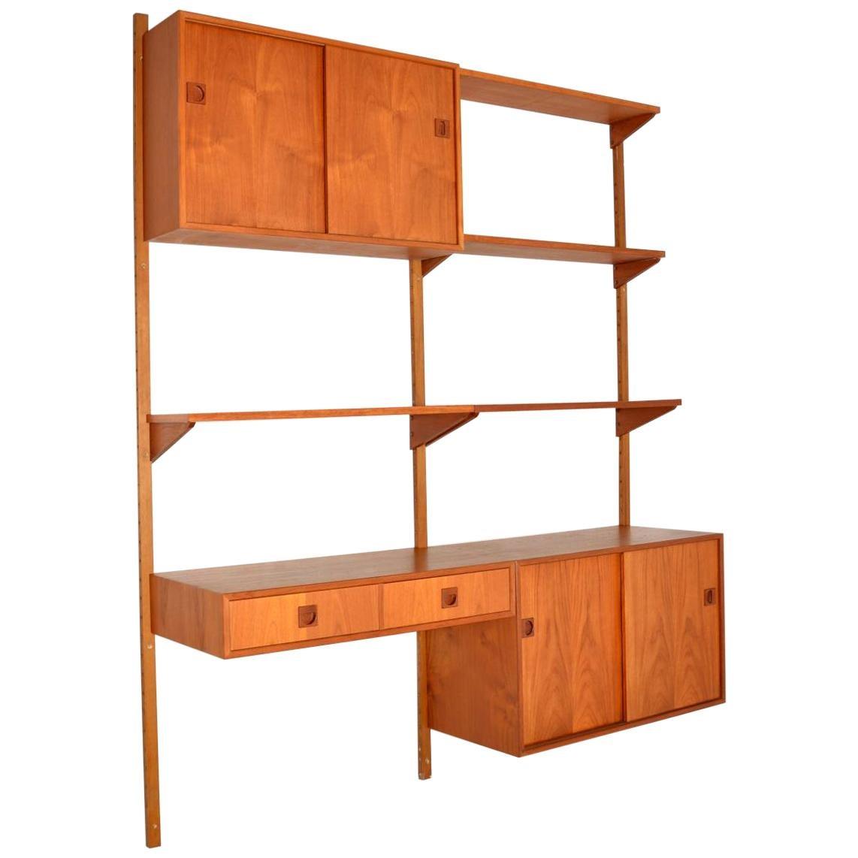 1960s Vintage Danish Ps Wall Unit Bookcase Cabinet
