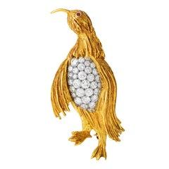 1960's Vintage Diamond 18K Gold Platinum Penguin Pin Brooch