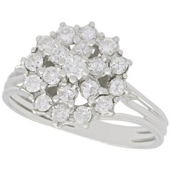 1960s Vintage Diamond and White Gold Cluster Ring
